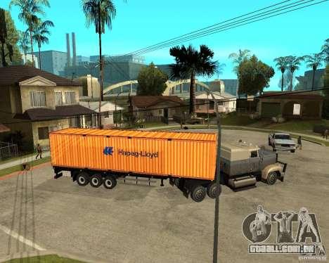 Krone Trailer Hapag-LLoyd para GTA San Andreas traseira esquerda vista