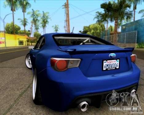 Subaru BRZ Stance para GTA San Andreas traseira esquerda vista