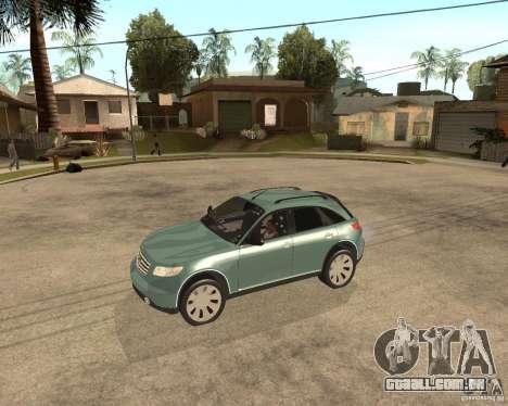 INFINITY FX45 para GTA San Andreas traseira esquerda vista