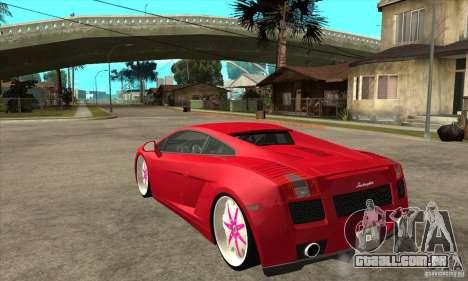 Lamborghini Gallardo White & Pink para GTA San Andreas traseira esquerda vista