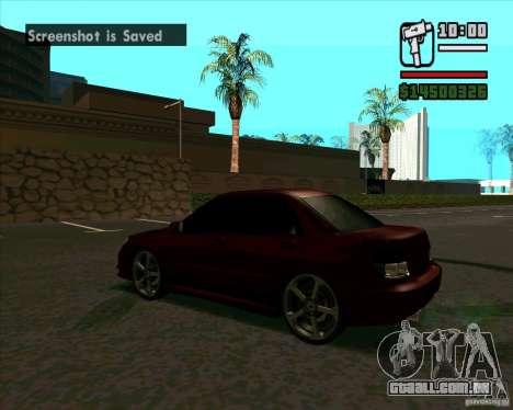 Subaru Impreza tuning para GTA San Andreas traseira esquerda vista