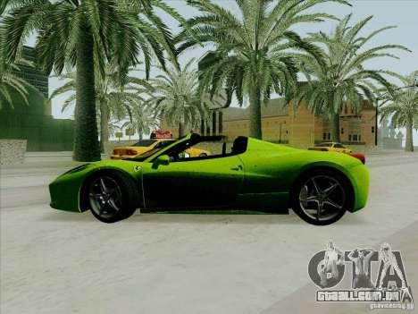 Ferrari 458 Spider para GTA San Andreas esquerda vista
