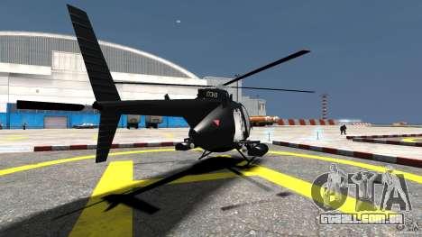 AH-6 LittleBird Helicopter para GTA 4 traseira esquerda vista