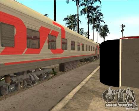 Carro de passageiro RZD para GTA San Andreas vista traseira