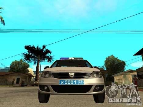Dacia Logan Police para GTA San Andreas vista direita