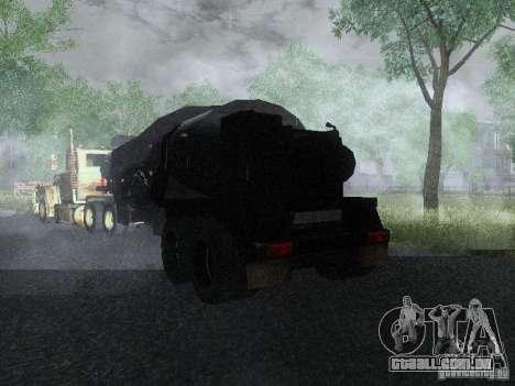 Reboque blindado combustível Mack Truck Titan para GTA San Andreas traseira esquerda vista