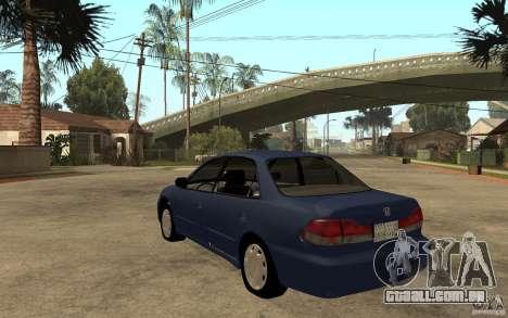 Honda Accord 2001 beta1 para GTA San Andreas traseira esquerda vista