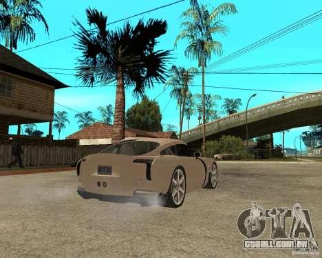 TVR Sagaris para GTA San Andreas traseira esquerda vista