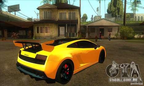 Lamborghini Gallardo LP570 Super Trofeo Stradale para GTA San Andreas vista direita