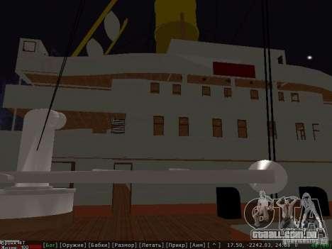 HMHS Britannic para GTA San Andreas traseira esquerda vista