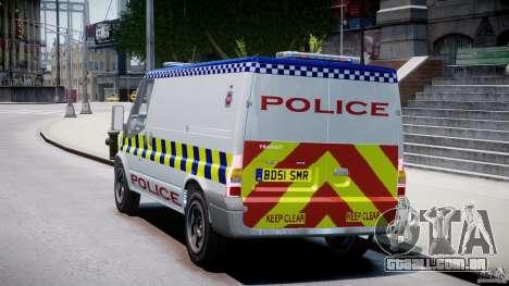 Ford Transit Polish Police [ELS] para GTA 4 traseira esquerda vista