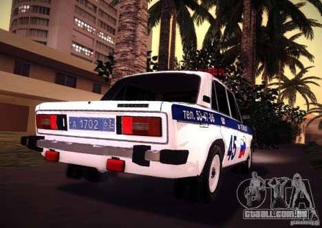 VAZ 2106 polícia v 2.0 para GTA San Andreas traseira esquerda vista