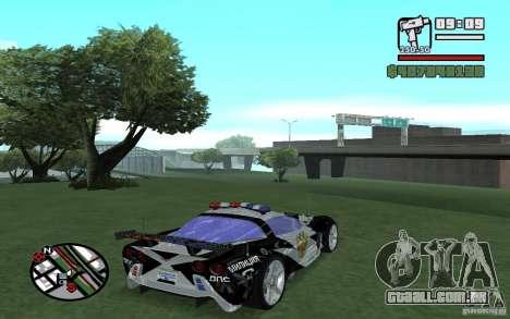 Atravessar o Corvette C6R inglês para GTA San Andreas vista direita