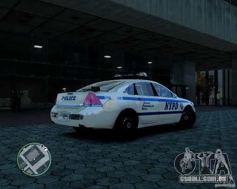 NYPD Chevrolet Impala 2006 [ELS] para GTA 4 traseira esquerda vista