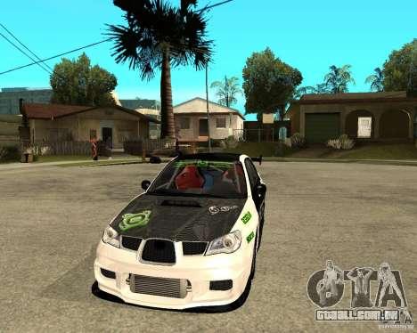 Subaru Impreza Elemental Attack para GTA San Andreas vista traseira