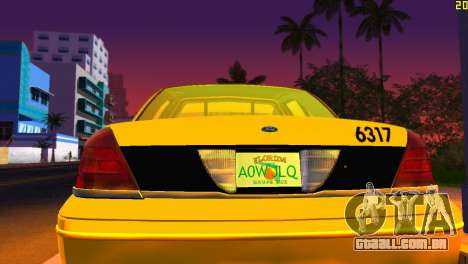 Ford Crown Victoria Taxi 2003 para GTA Vice City vista interior