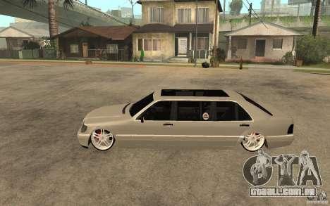 Mercedes-Benz S600 V12 W140 1998 VIP para GTA San Andreas esquerda vista