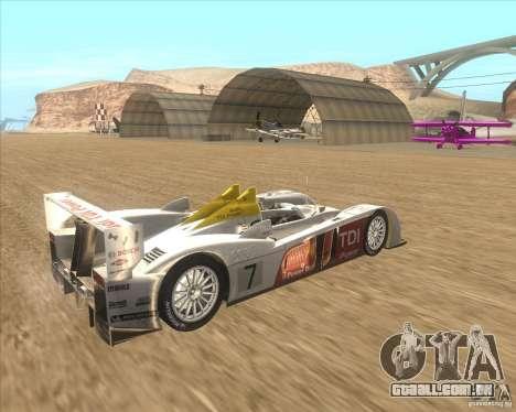 Audi R10 TDI para GTA San Andreas traseira esquerda vista