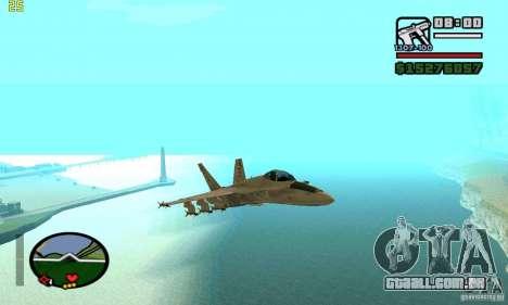 F-18 Super Hornet para GTA San Andreas vista direita