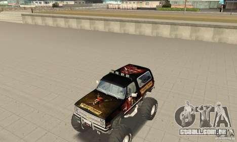 Chevrolet Blazer K5 Monster Skin 4 para GTA San Andreas esquerda vista