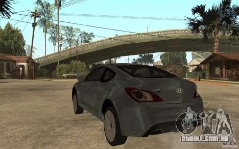 Hyundai Genesis Coupe 2010 para GTA San Andreas traseira esquerda vista