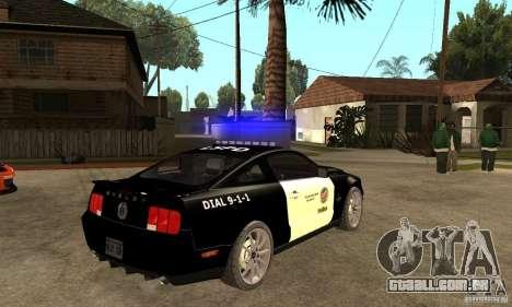 Shelby GT500KR Edition POLICE para GTA San Andreas vista direita