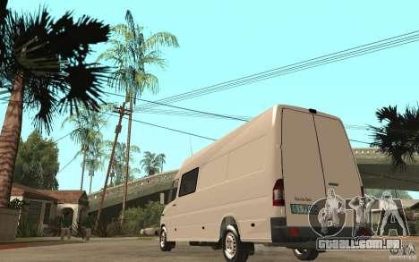 Mercedes-Benz Sprinter 313cdi para GTA San Andreas traseira esquerda vista