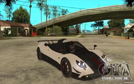 Pagani Zonda Cinque Roadster para GTA San Andreas vista traseira