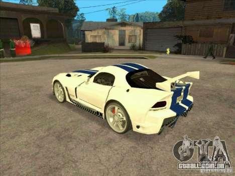 Dodge Viper from MW para GTA San Andreas traseira esquerda vista