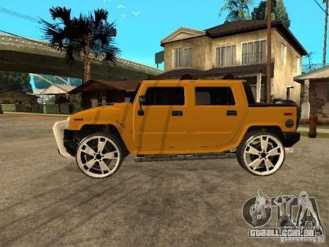 Hummer H2 4x4 diesel para GTA San Andreas traseira esquerda vista