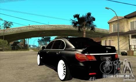 BMW 7-er F02 HAMANN 2010 para GTA San Andreas traseira esquerda vista
