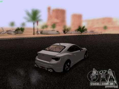 Toyota 86 TRDPerformanceLine 2012 para GTA San Andreas traseira esquerda vista