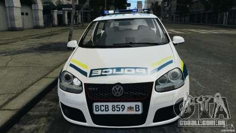 Volkswagen Golf 5 GTI South African Police [ELS] para GTA 4 vista lateral