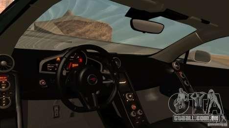 McLaren MP4-12C 2012 para vista lateral GTA San Andreas