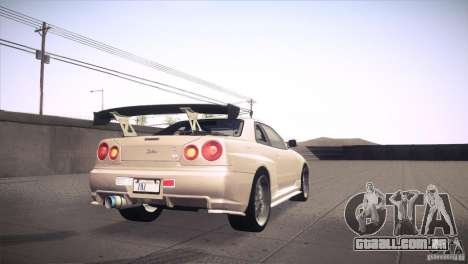 Nissan Skyline R34 para GTA San Andreas interior