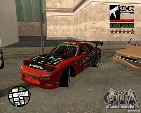 Mazda RX-7 drift king para GTA San Andreas vista interior