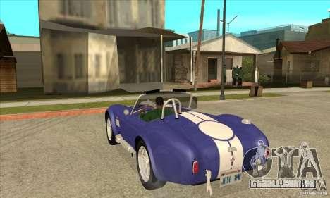 AC Shelby Cobra 427 1965 para GTA San Andreas traseira esquerda vista