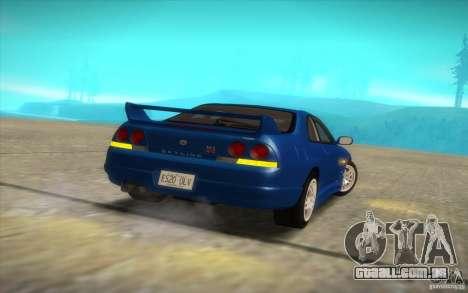 Nissan Skyline R33 GT-R V-Spec para GTA San Andreas vista traseira