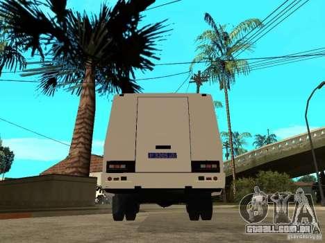 Polícia de PAZ 3205 para GTA San Andreas traseira esquerda vista