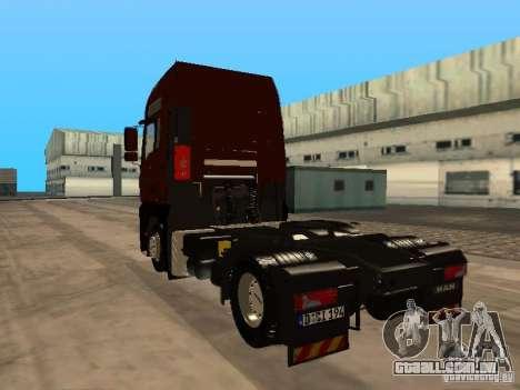 MAN TGA Vos Logistics para GTA San Andreas traseira esquerda vista