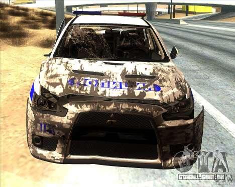Mitsubishi Lancer Evolution X PPP polícia para GTA San Andreas interior