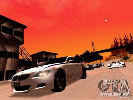 BMW M6 MotoGP SafetyCar para GTA San Andreas traseira esquerda vista