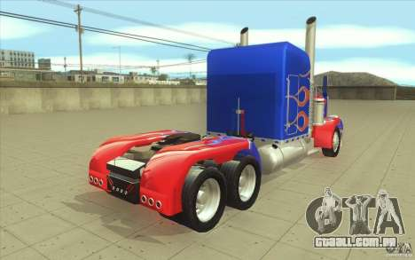 Peterbilt 379 Optimus Prime para vista lateral GTA San Andreas