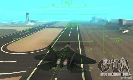 YF-22 Standart para vista lateral GTA San Andreas