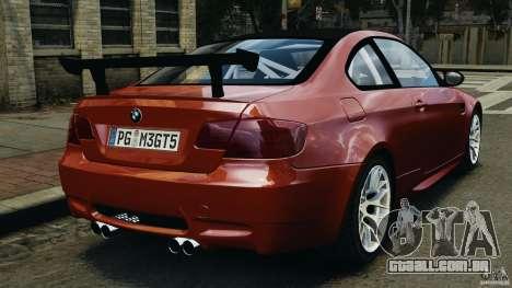 BMW M3 GTS 2010 para GTA 4 traseira esquerda vista