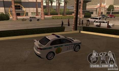 Mitsubishi Lancer Evolution X polícia do Cazaqui para GTA San Andreas esquerda vista