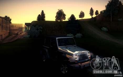 Jeep Wrangler Rubicon 2012 para GTA San Andreas traseira esquerda vista