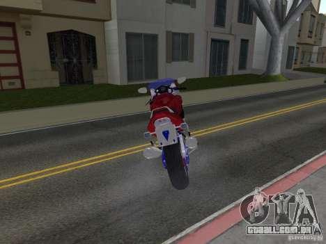 Honda CBR1100XX para GTA San Andreas traseira esquerda vista