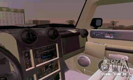 Hummer H2 Ambluance de transformadores para GTA San Andreas vista superior