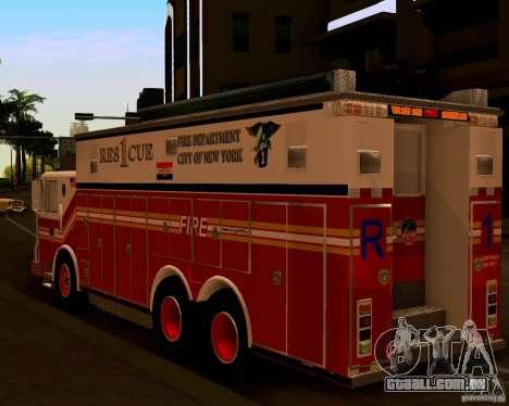 Pumper Firetruck Pierce F.D.N.Y para GTA San Andreas traseira esquerda vista